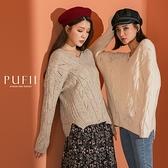 限量現貨◆PUFII-針織上衣 V領厚針織麻花針織上衣毛衣-1029 現+預 秋【CP19358】