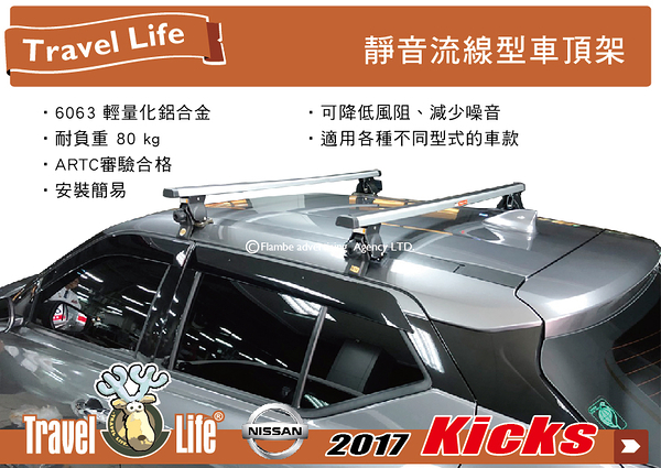 ||MyRack||Travel Life Nissan kicks 車頂架 行李架 橫桿|| THULE YAKIMA