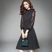 洋裝-九分袖圓領拼接純色假兩件女連身裙2色73of172【巴黎精品】