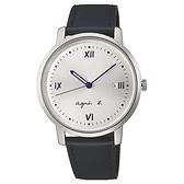 【台南 時代鐘錶 Agnes b.】BG8012X1 手寫風 日期顯示 皮革錶帶錶 38mm 藍/銀 VJ32-KZD0Z