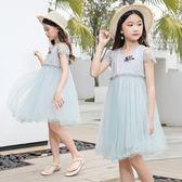 女童連身裙短袖網紅公主裙新款夏季女孩洋氣蕾絲網紗裙韓版 依夏嚴選