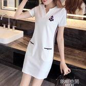 胖mm洋裝女夏大碼女裝春裝修身顯瘦中長款運動休閒裙子 韓語空間