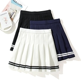 網球裙 鬆緊腰百褶裙女彩條紋2021新款高腰校服裙子夏學院風運動半身短裙 艾維朵