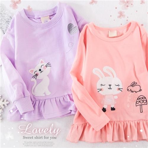 悠閒兔兔貓咪傘狀長袖上衣-2款(300223)【水娃娃時尚童裝】