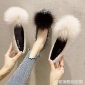平底單鞋女新款韓版方頭淺口毛球軟底瓢鞋時尚社會chic豆豆鞋  居家物語