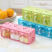 新年鉅惠 翻蓋透明塑料調味盒罐調味瓶調料盒鹽罐套裝 送勺子廚房用具