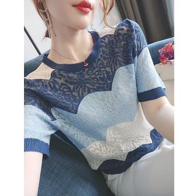涼感上衣~冰絲針織短t~帥芬~定染松霧藍,洋氣又顯白短袖鏤空冰絲針織T恤女.BF19A愛尚布衣