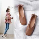 韓版春季新款復古奶奶鞋淺口百搭平底單鞋女鞋方頭平跟豆豆鞋「千千女鞋」