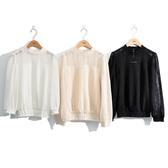 梅春7折[H2O]小高領仿空花織紋針織上衣 - 米黃/黑/白色 #0631011