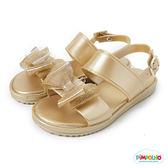 PIMPOLHO 雙層蝴蝶結休閒涼鞋-童-金色