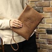 手提包手拿包 男包 新款男士手包大容量信封包軟皮休閒夾包韓版瘋馬皮 阿卡娜