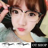 OT SHOP 眼鏡框‧中性情侶款平光眼鏡型男 潮流半框鼻墊加高亮黑霧黑  ‧Q13