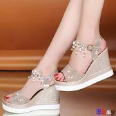 [貝貝居] 楔型涼鞋 高跟 坡跟涼鞋 防水臺 鬆糕厚底 增高涼鞋