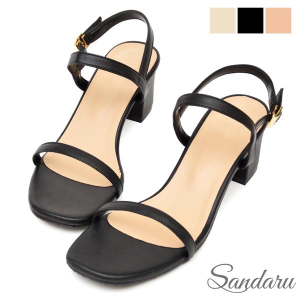 涼鞋 簡約一字細帶方頭中跟鞋-黑