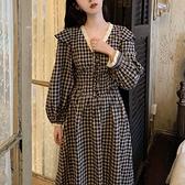 初夏復古法式長袖棉麻格子V領中長款瘦顯氣質收腰洋裝 【端午節特惠】