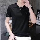 2021新款夏季冰絲短袖t恤男士韓版潮流圓領上衣服潮牌半袖體恤ins【快速出貨】
