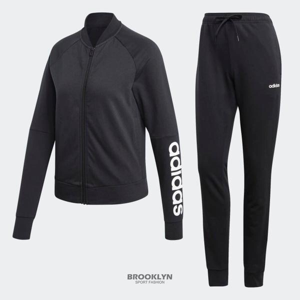 ADIDAS 運動套裝 (外套加長褲) TRACK SUIT 黑白 LOGO款 休閒 女 (布魯克林) DV2434