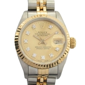 ROLEX 勞力士 18K金鑲10顆鑽不銹鋼蠔式恆動日誌型女錶 Ladies Datejust 1990 69173G