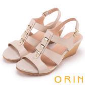 ORIN 夏日耀眼時尚 線條羅馬牛皮楔型涼鞋-粉膚