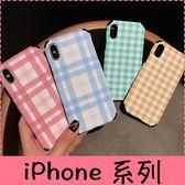 【萌萌噠】iPhone X XS 6s 7 8 plus 小清新網紅同款 果凍色格子紋保護殼 超強浮雕手感 全包軟殼 手機殼