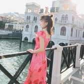 洋裝 露肩一字領長裙海邊度假沙灘裙印花雪紡連身裙修身顯瘦海灘裙 巴黎春天