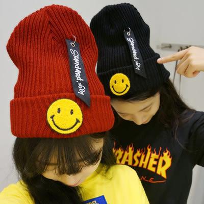 毛帽 韓國貼標笑臉針織毛線帽 (2色)【Ann梨花安】