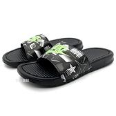《7+1童鞋》NIKE BENASSI JDI PRINT 螢光塗鴉 潮流 輕量 休閒 運動拖鞋 G891 黑色