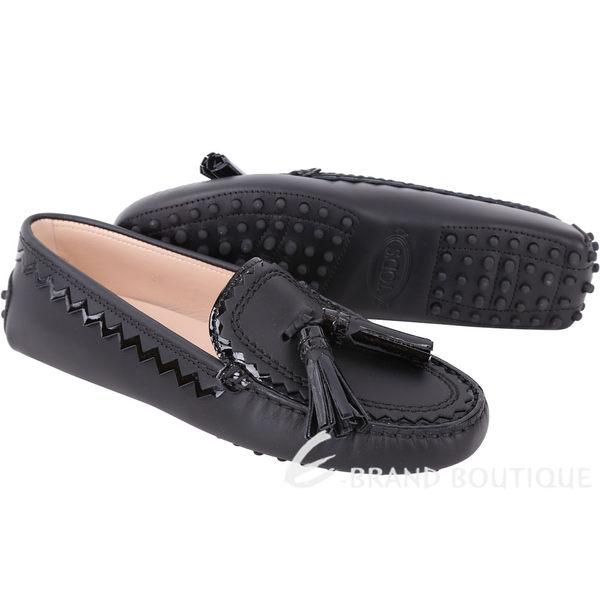 TOD'S 流蘇綴飾拼接鋸齒豆豆鞋(女鞋/黑色) 1740460-01