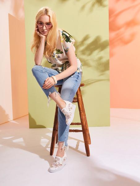 ★2019春夏★Keeley Ann墊起腳尖愛 網紗電繡花內增高休閒鞋(黑色) -Ann系列