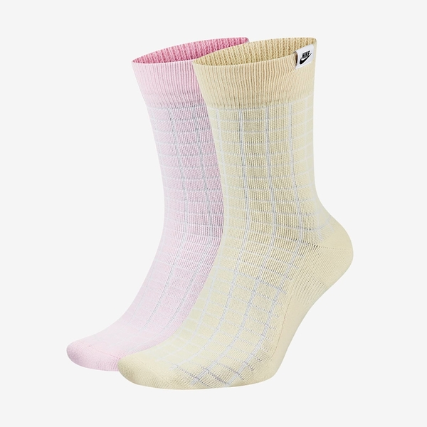 NIKE 中筒襪 襪子 SPORTSWEAR SNKR SOX 兩雙一組 黃粉 格子 運動 (布魯克林) CK5590-902