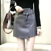 a字裙黑色小皮裙高腰短裙女顯瘦半身裙PU裙子秋冬包臀裙A字裙 奈斯女裝