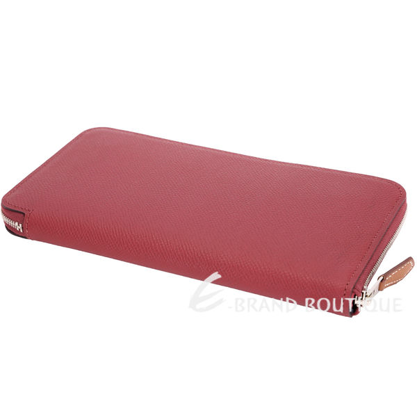 HERMES Silk In EPSOM 防刮牛皮拉鍊絲巾長夾(紅色) 1710855-54