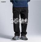 飛鼠褲馬切達春季日繫復古寬鬆直筒褲男士純棉工裝褲純色垮褲薄款休閒褲