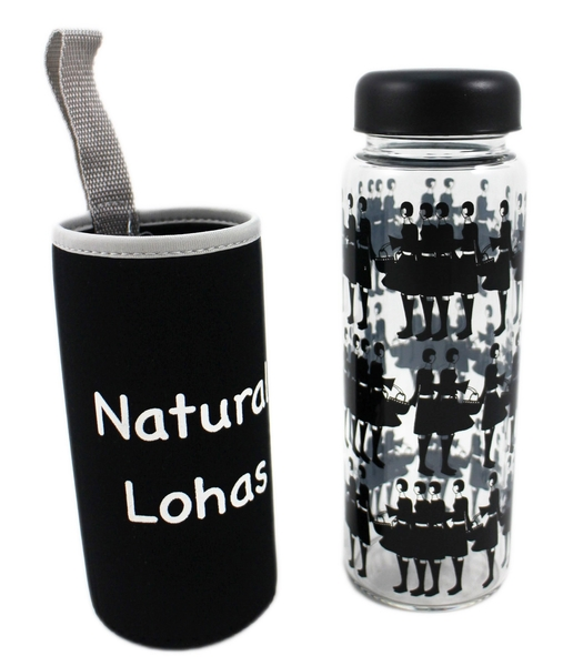 【卡漫城】 玻璃 隨行杯 附套袋 450ml ~ 大口徑 水壺 玻璃罐 水杯 耐溫 潛水布套 飲料杯 環保 咖啡
