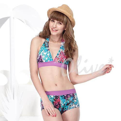 ☆小薇的店☆MIT聖手品牌亮眼彩繪風時尚三件式比基尼泳裝特價990元 NO.A93416(M-XL)