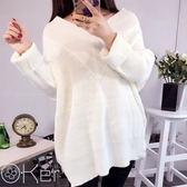 韓版寬鬆V領針織毛衣 大尺碼顯瘦秋裝 O-Ker LL1801-C