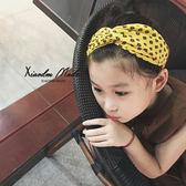 韓國兒童寶寶頭飾亮黃色親子女孩發箍百搭洋氣寬邊交叉鬆緊發帶新  enjoy精品