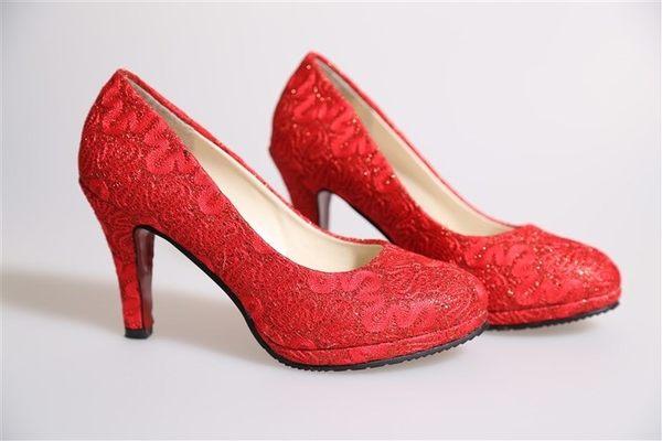 結婚鞋女2016新款紅色高跟鞋大碼新娘鞋粗跟女鞋單鞋中式婚禮紅鞋