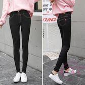 高腰黑色打底褲女春秋外穿薄款 加長窄管褲彈力大尺碼鉛筆長褲緊身