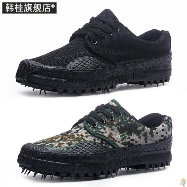 工地民工鞋戶外耐磨防滑迷彩勞保鞋男解放鞋工作鞋透氣帆布鞋韓版 小艾新品