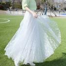 網紗半身裙 新款網紗半身裙女士夏季設計感小眾字母印花高腰百褶裙中長款紗裙 晶彩 99免運