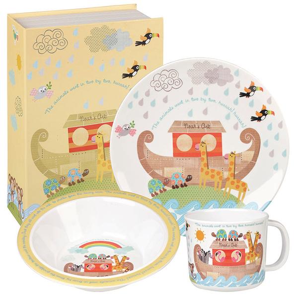 英國Churchill Queens兒童美耐皿3件餐具禮盒組(諾亞方舟)