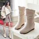 韓版顯瘦內增高女鞋子40大碼41百搭42套筒43中筒靴秋冬中跟馬丁靴 可然精品