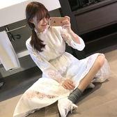 2019春秋新款韓版學院風學生小清新顯瘦長袖蕾絲洋裝氣質長裙女 後街五號