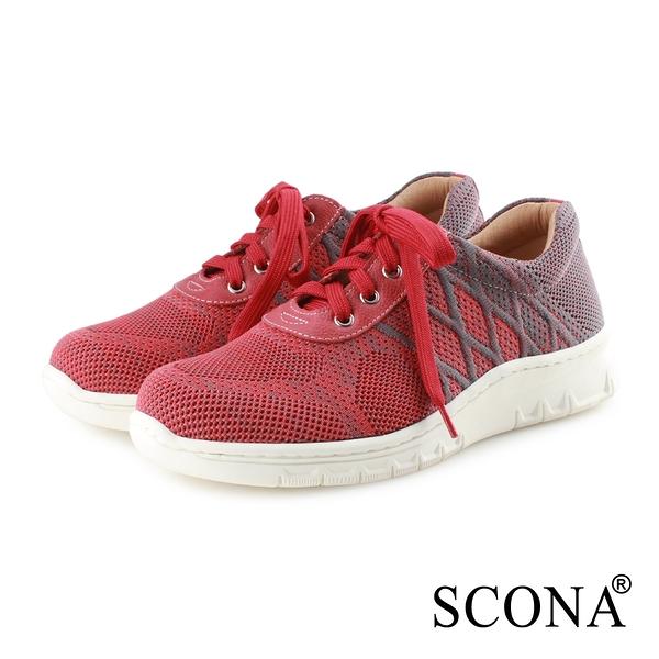 SCONA 蘇格南 樂活彈力綁帶休閒鞋 紅色 7348-2