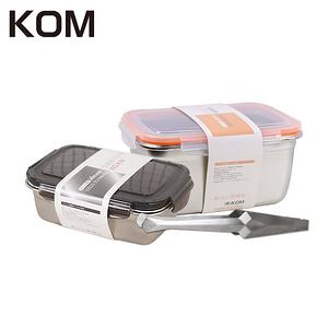 KOM不鏽鋼保鮮盒兩入+晶鑽料理夾組