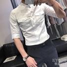 夏季新款男士短袖襯衫修身五分袖襯衣潮流帥氣半袖上衣 快速出貨