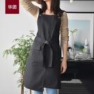 圍裙 帆布圍裙家用廚房工作服韓版圍腰男女防水防油服務員定制印字LOGO