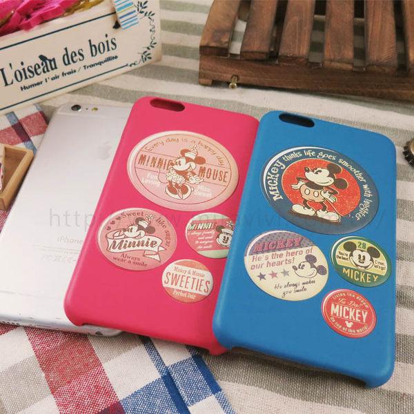 【Disney】迪士尼iPhone6 Plus / 6S Plus仿舊復古皮革5.5保護殼-復古徽章米奇.米妮