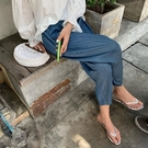 促銷特價 夏裝垂感闊腿褲女胖mm顯瘦高腰冰絲休閑九分褲大碼寬松百褶奶奶褲